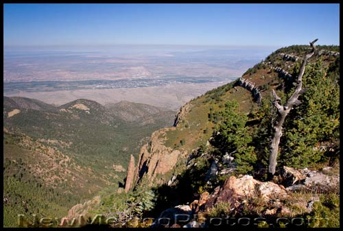 a thick layer of smog covers the rio grande valley, as seen from high in the Sandia mountains