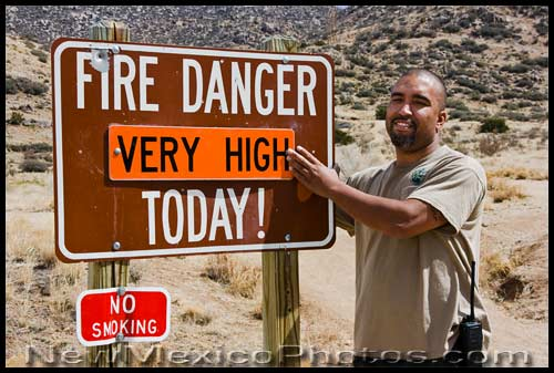 fire danger sign is set to very high