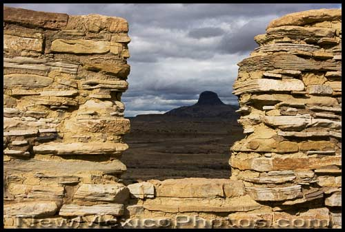 cabezon, a distinctive New Mexican landmark, seen through the walls of a Chacoan outlier