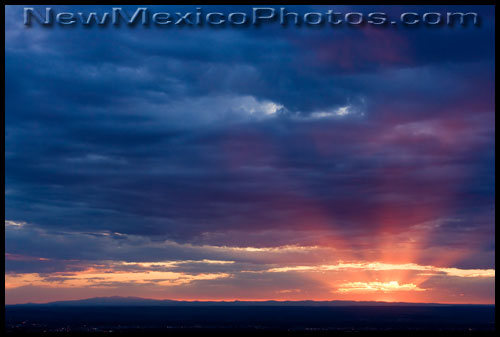 Mt Taylor and the setting sun as seen from the Sandia foothills