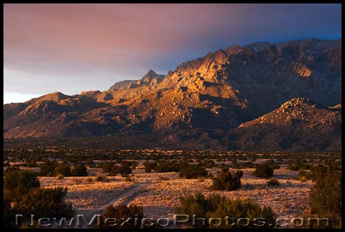 golden sun lights up the Sandias briefly at the end of the day