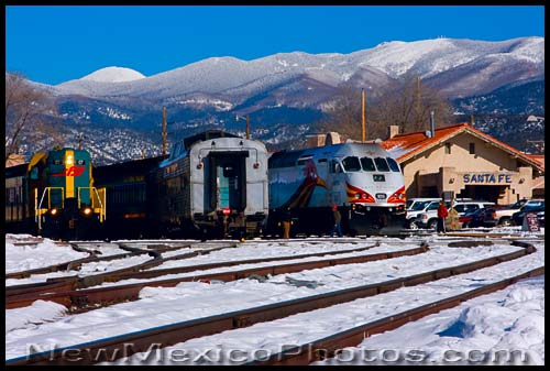 Santa Fe train depot, with the Sangre de Cristos in the background